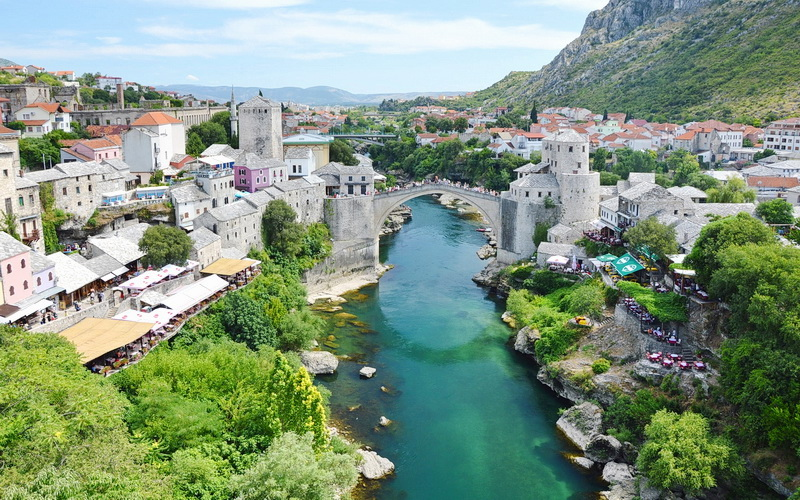 Old Bridge Area Of The City Of Mostar