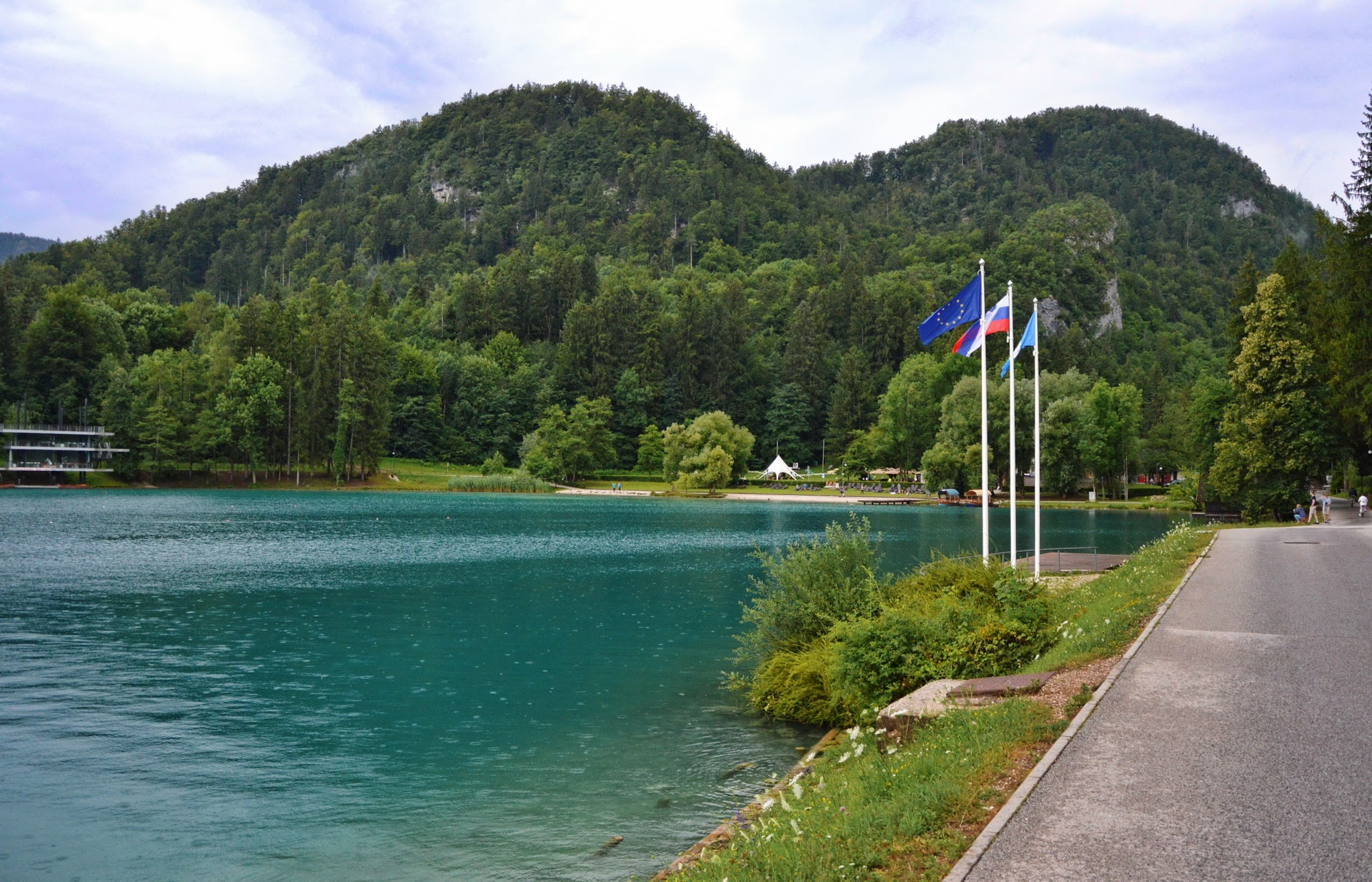 Eastern part of Lake Bled with Ojstrica and Osojnica in the background