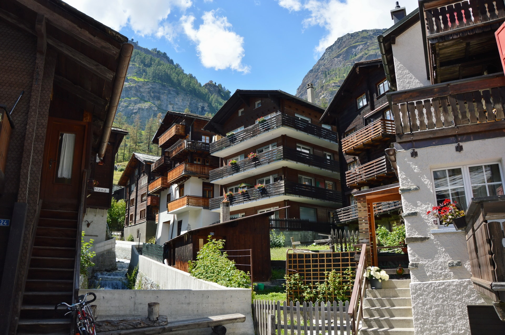 Zermatt is full of hotels and chalets for tourists
