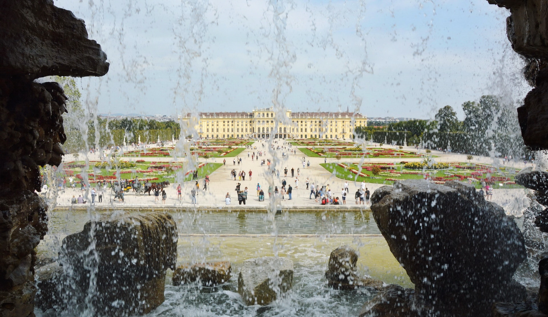 View of the Schönbrunn Palace from the gardens