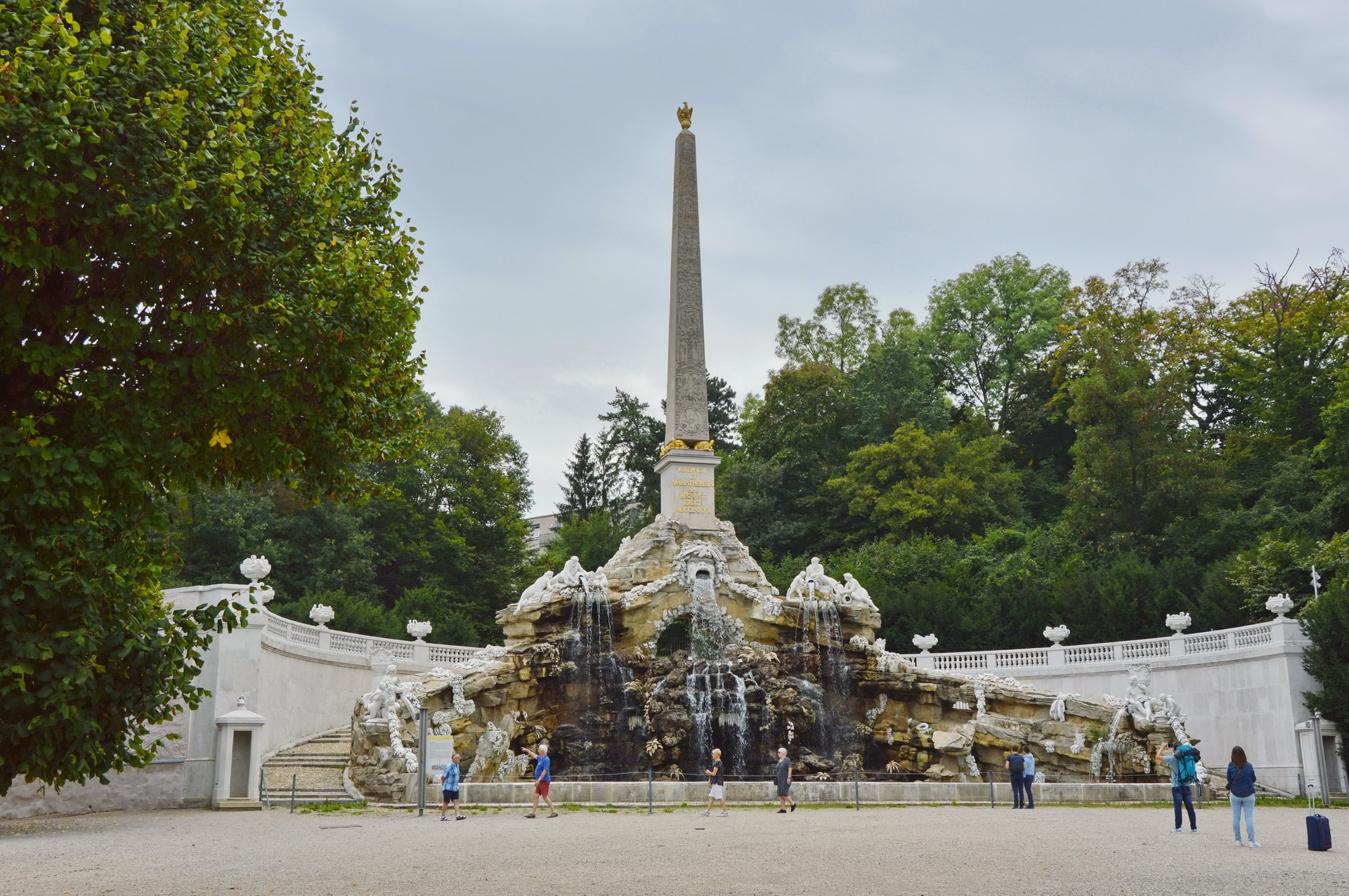 Obelisk Fountain in the gardens of the Schönbrunn Palace
