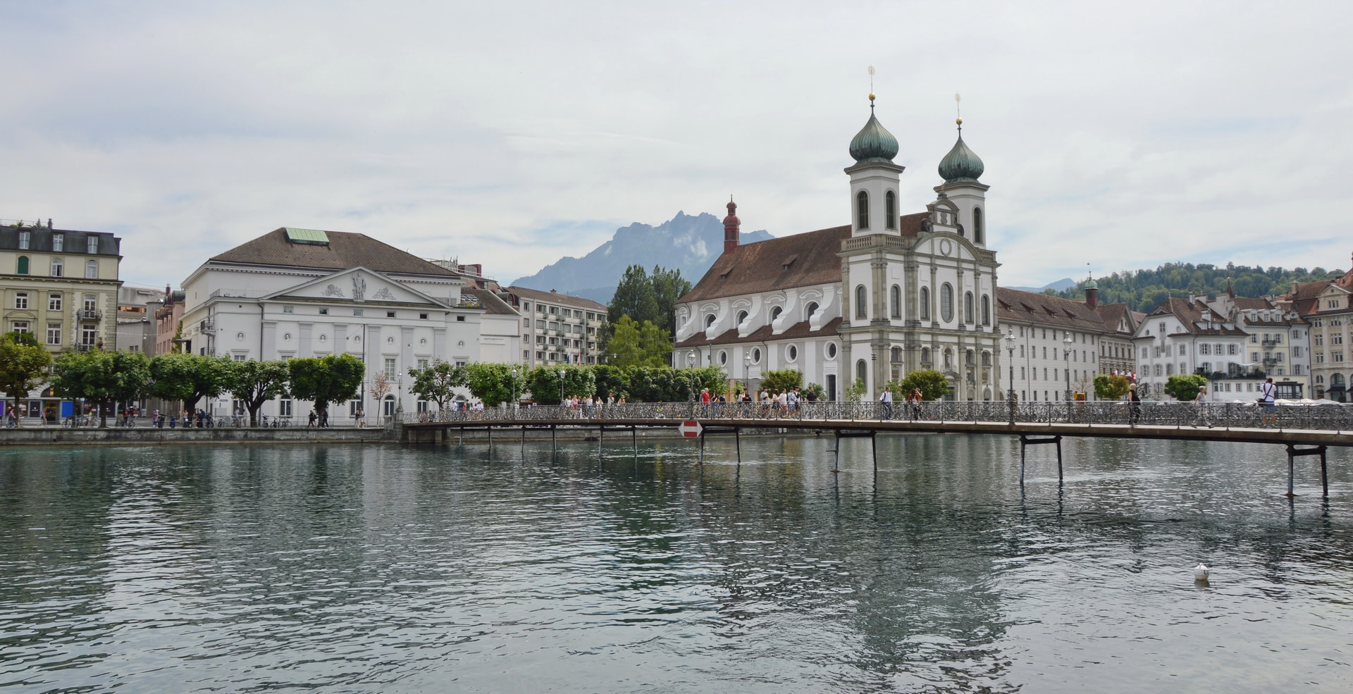 Walking along the Reuss River in Lucerne