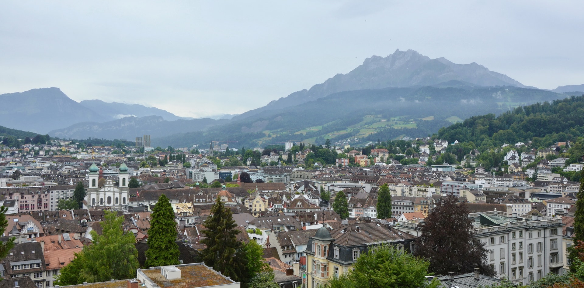 Mount Pilatus rising over the city of Lucerne