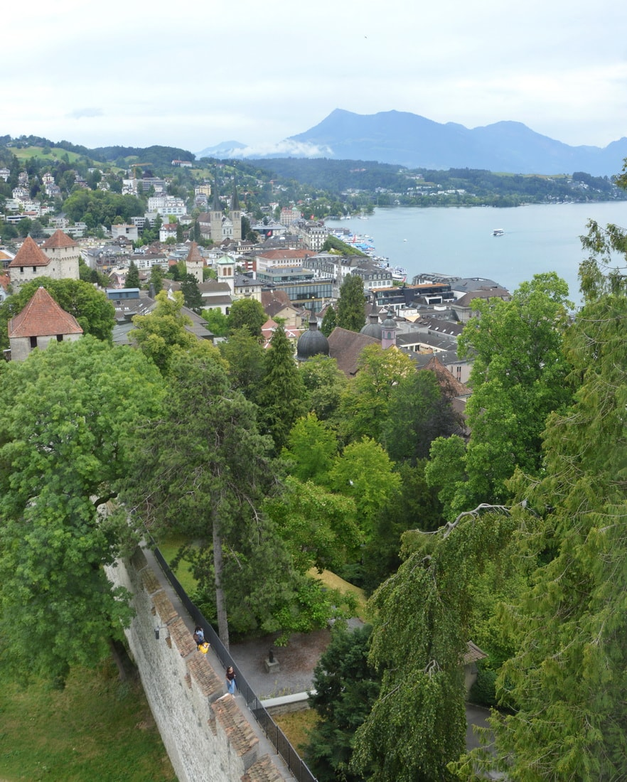 You can climb a tower of the city wall for nice views of Lucerne and the lake