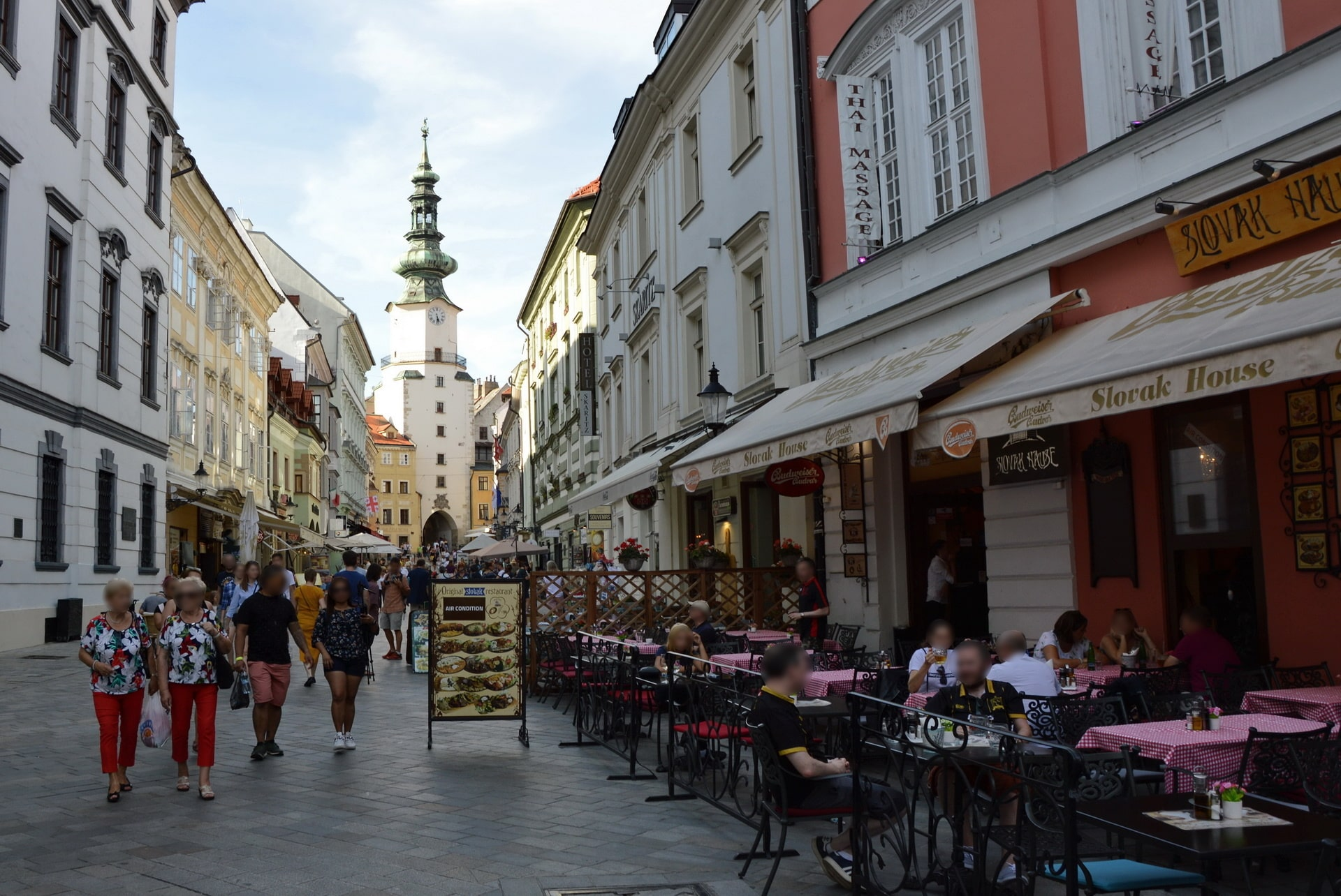 St. Michael's gate at the end of Michalská street lined with restaurants