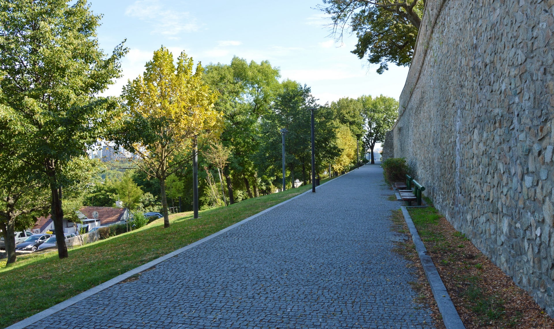 There is a park behind the walls of Bratislava Castle